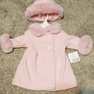 NWT starting out pink fleece coat with hat